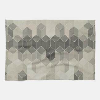 Grey Scale Cube Geometric Design Kitchen Towel
