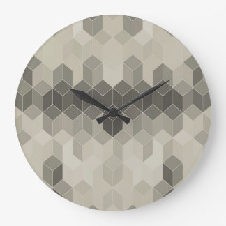 Grey Scale Cube Geometric Design Large Clock