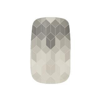 Grey Scale Cube Geometric Design Minx Nail Art