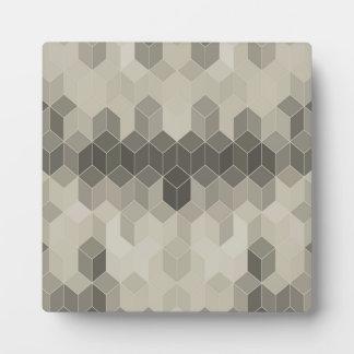 Grey Scale Cube Geometric Design Plaque