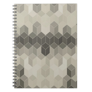 Grey Scale Cube Geometric Design Spiral Notebook