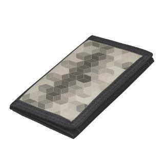 Grey Scale Cube Geometric Design Tri-fold Wallet
