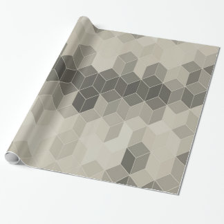 Grey Scale Cube Geometric Design Wrapping Paper