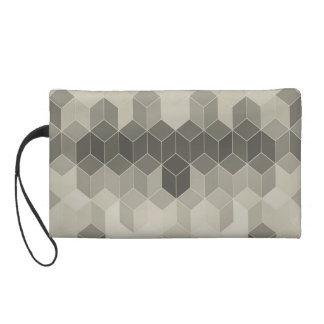 Grey Scale Cube Geometric Design Wristlet