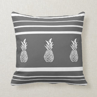 Grey Scale Pineapples and Stripes Pillow