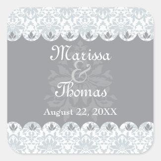 Grey Scalloped Damask Wedding Sticker