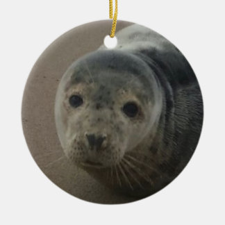 Grey seal pup baby cutesy ornament. ceramic ornament