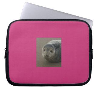 Grey seal pup. Cute seaside baby Laptop Sleeve