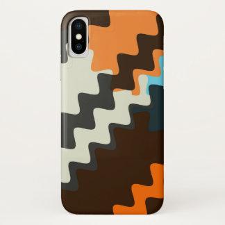 Grey Seashell Brown Wavy Pattern iPhone X Case