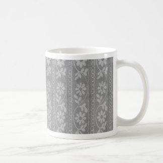 Grey Shaded Flowers Classic White Coffee Mug
