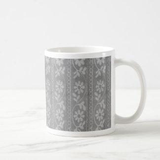 Grey Shaded Flowers Basic White Mug
