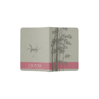 GREY SHADES PINK LEATHER  BAMBOO FOLIAGE MONOGRAM PASSPORT HOLDER