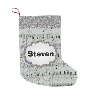 Grey Sheet Music Silver Snowflake Faux Glitter Small Christmas Stocking