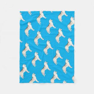Grey Siberian Husky Fleece Blanket