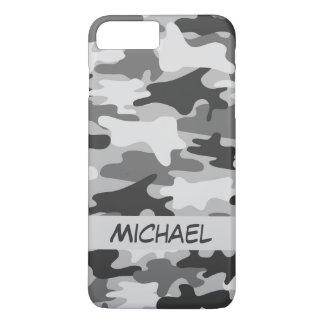 Grey Silver Camo Camouflage Personalized Name iPhone 7 Plus Case