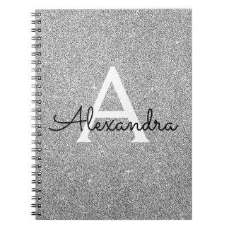Grey Silver Foil Glitter Sparkle Monogram Notebook