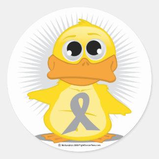 Grey/Silver Ribbon Duck Classic Round Sticker