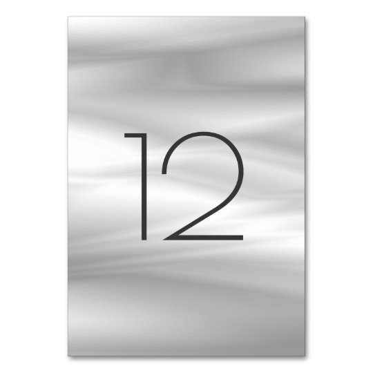 Grey Silver Silk White White Vertical Table Number