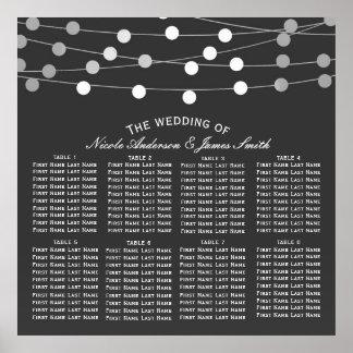 Grey Silver String Lights Modern Wedding Seating Poster