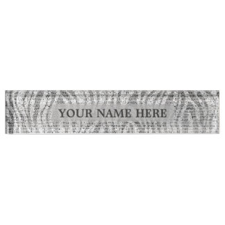 Grey Silver White Zebra Print Glam Personalized Nameplate