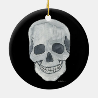 Grey Skull Circle Ornament