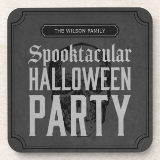 Grey Skull Spooktacular Halloween Party Drink Coasters