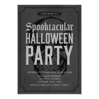 Grey Skull Spooktacular Halloween Party Invitation