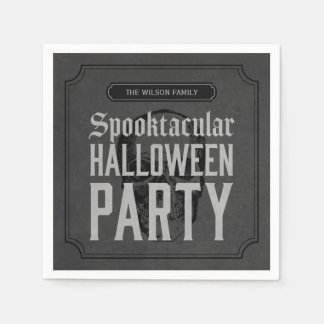 Grey Skull Spooktacular Halloween Party Paper Napkin