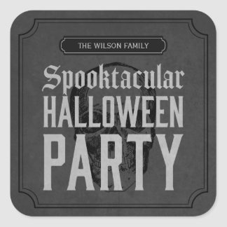 Grey Skull Spooktacular Halloween Party Square Sticker