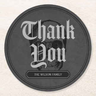Grey Skull Spooktacular Halloween Thank You Round Paper Coaster