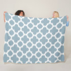 Grey Slate Blue White Ikat Quatrefoil Pattern Fleece Blanket