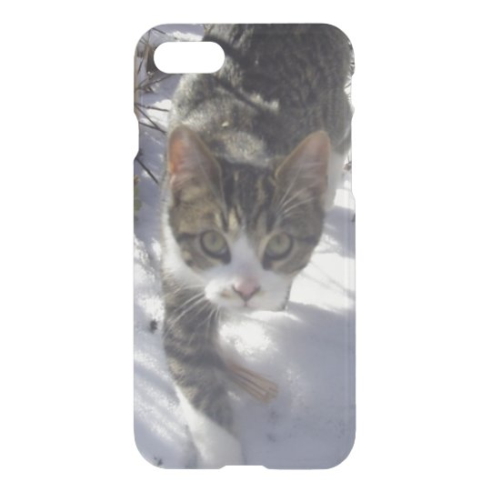 Grey Snow Kitty iPhone 7 Case