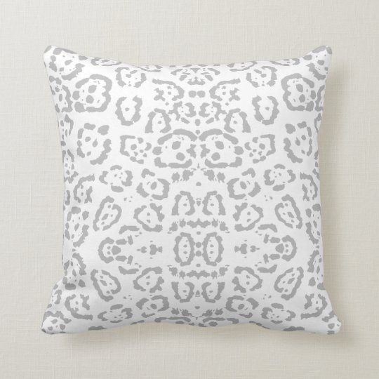 Grey Snow Leopard Cat Animal Print Throw Pillow