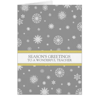 Grey Snow Teacher Season's Greetings Card