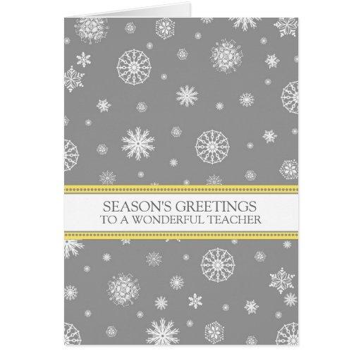 Grey Snow Teacher Season's Greetings Card