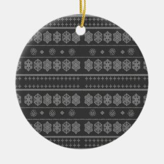 Grey snowflake pattern ornaments