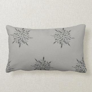 Grey Snowflake Throw Pillow