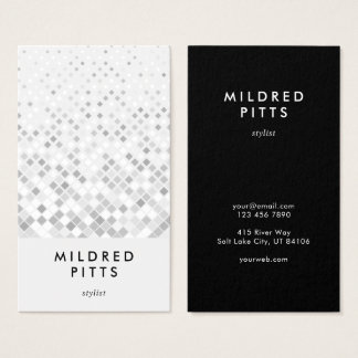 Grey Square Pattern Monochrome Business Card