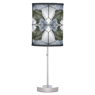 Grey Stained Glass Turtle Table Lamp