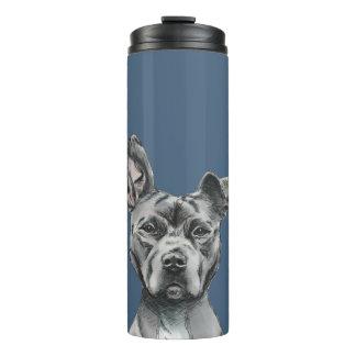 Grey Stalky Pit Bull Dog Drawing Thermal Tumbler