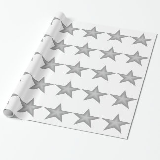 Grey Stars theme wrapping paper