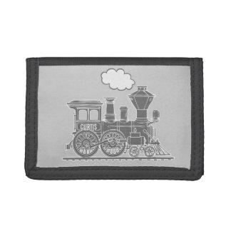 Grey steam train engine name boiler plate wallet