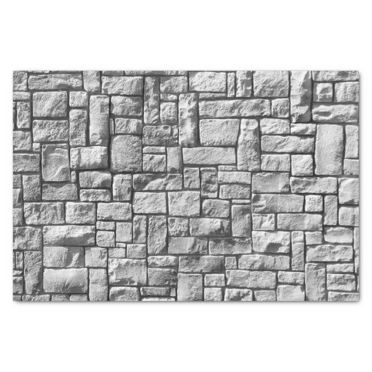 Grey Stone Brick Wall Texture Tissue Paper