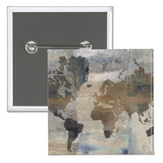 Grey Stone Map Of The World 2 Inch Square Button