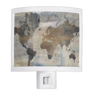 Grey Stone Map Of The World Nite Lite