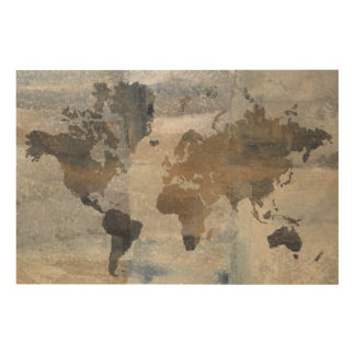 Grey Stone Map Of The World Wood Print