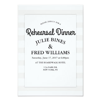 Grey stripe Rehearsal Dinner invitation