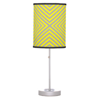 Grey Striped Abajur with Yellow Table Lamp