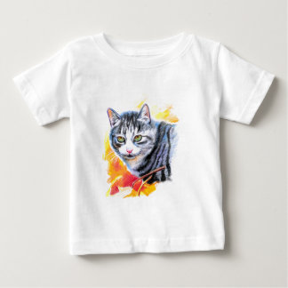 Grey Striped Cat Baby T-Shirt