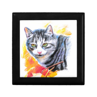Grey Striped Cat Gift Box